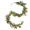 Turin 6-Foot Artificial Olive Leaf Garland with Red Berries
