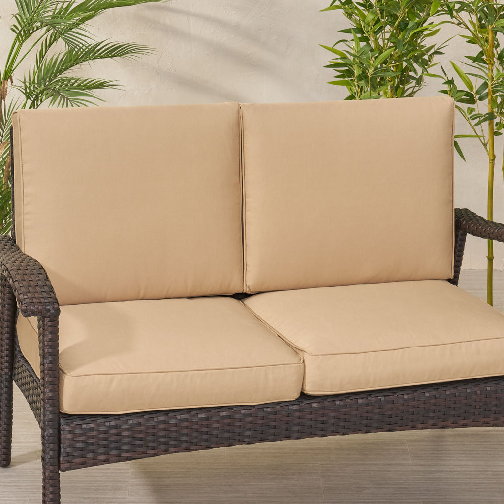 Atiyah Outdoor Water Resistant Fabric Loveseat Cushions With Piping Gdfstudio