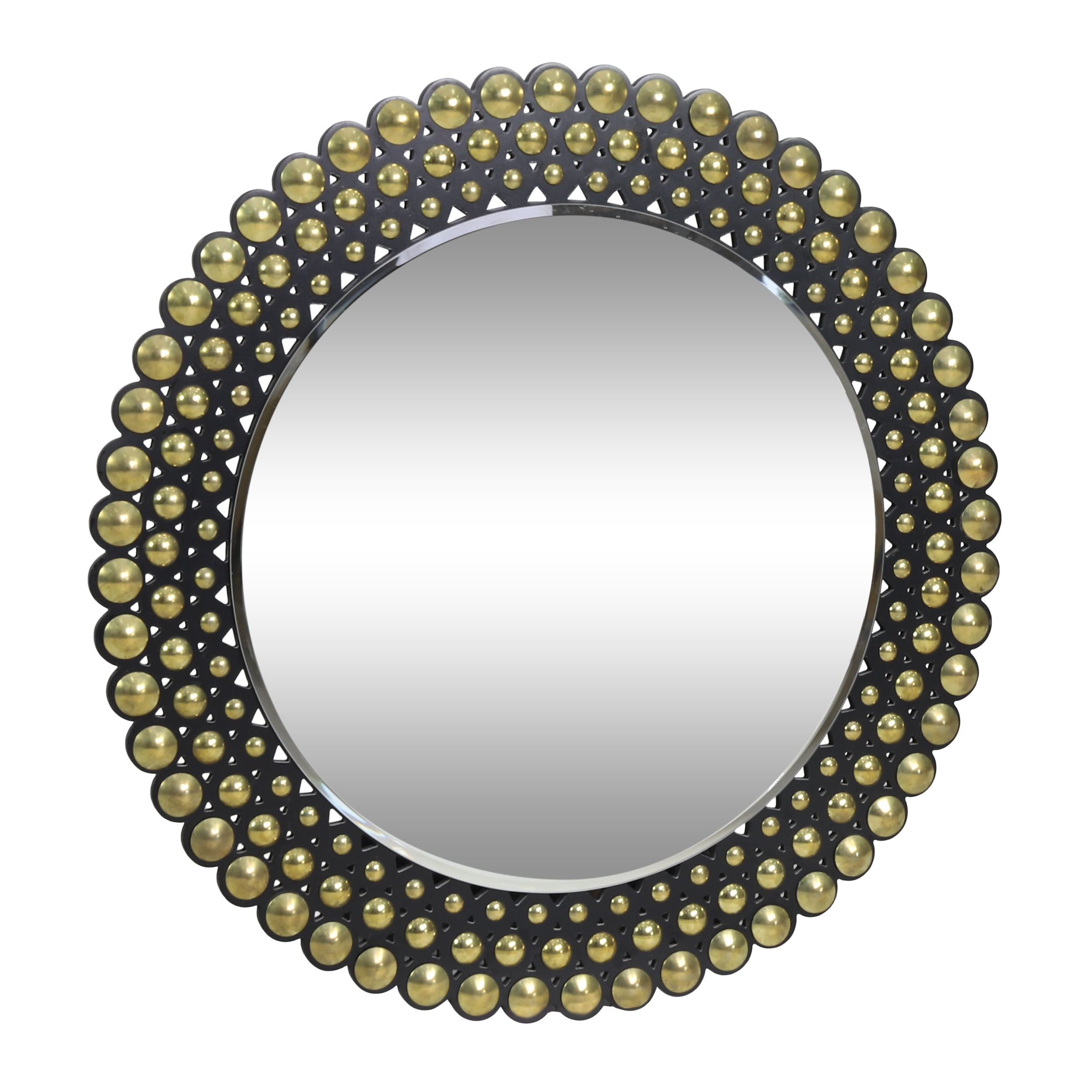 Abels Contemporary Studded Round Wall Mirror Default Title