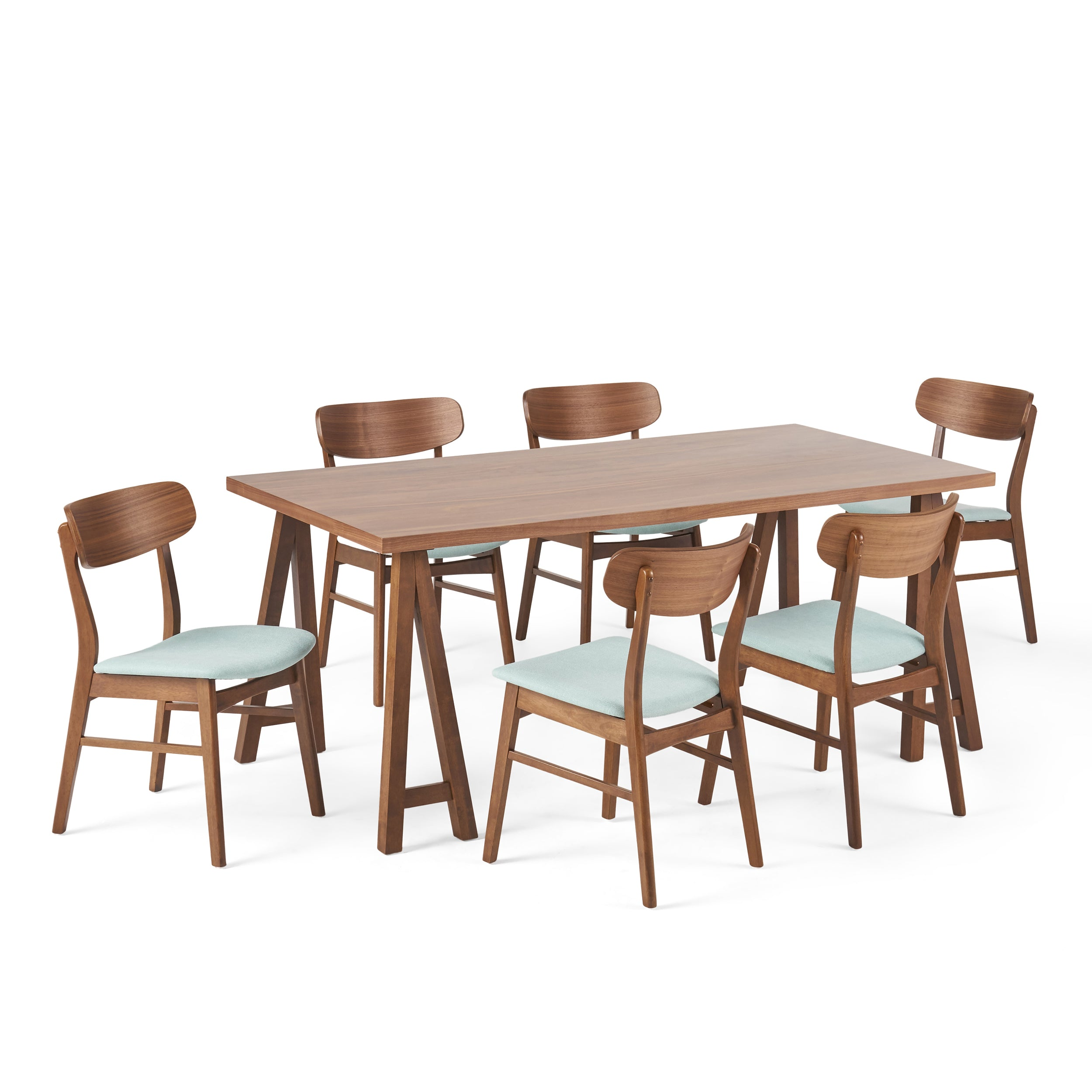 Alexis Mid Century Modern 7 Piece Dining Set with A Frame Table Green TeaNatural Oak