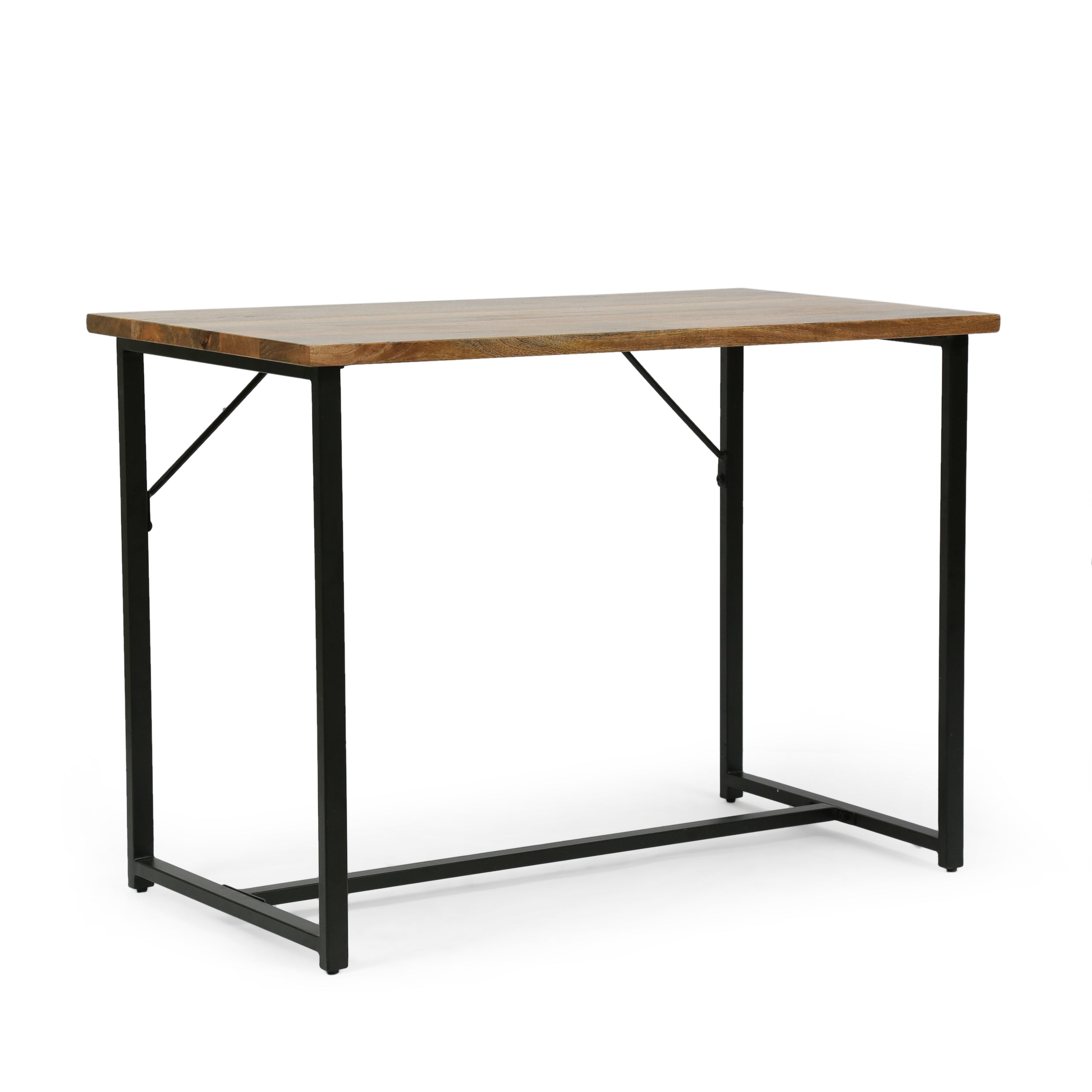 Addyston Modern Industrial Handcrafted Mango Wood Desk Honey Brown and Black
