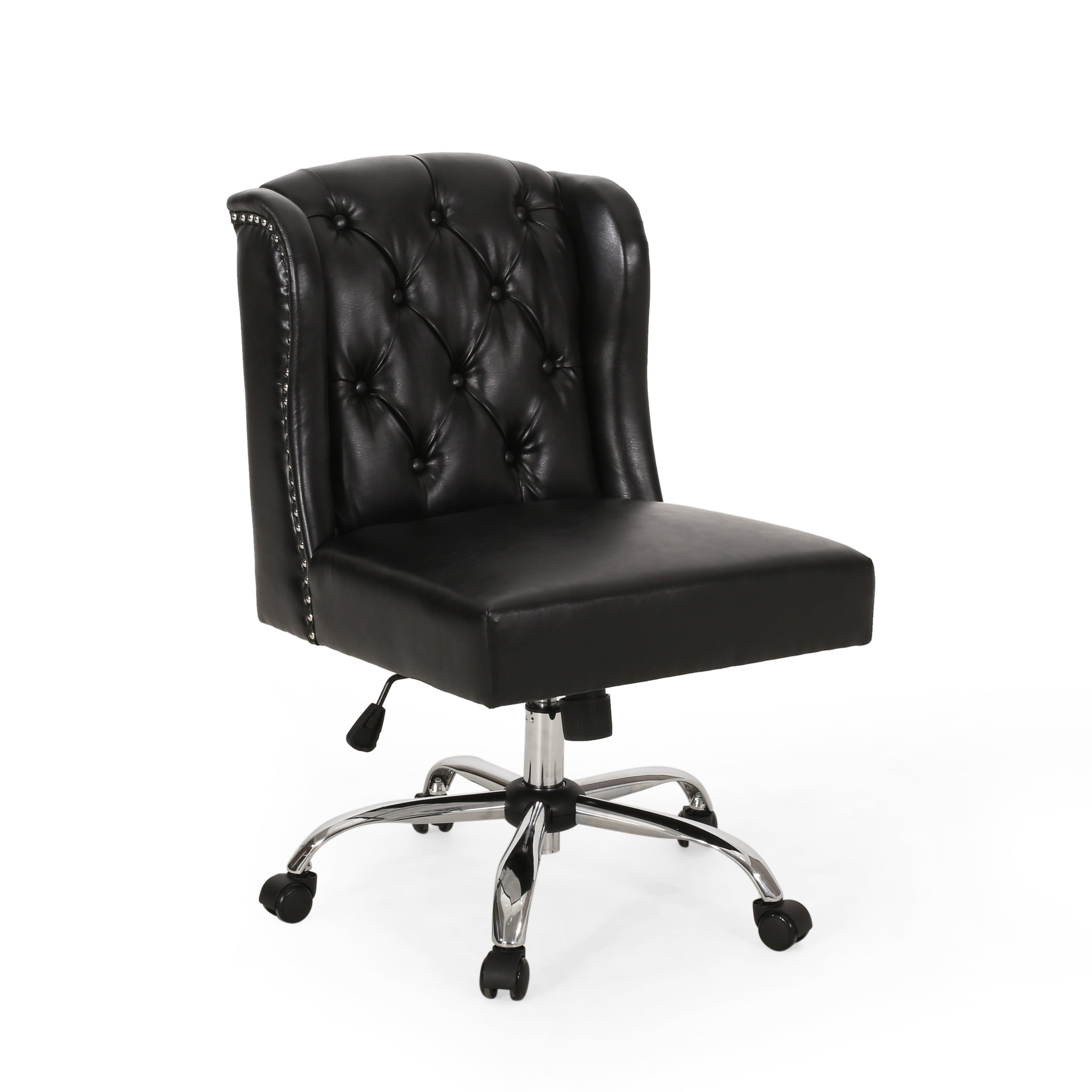 Amar Contemporary Wingback Tufted Swivel Office Chair Midnight