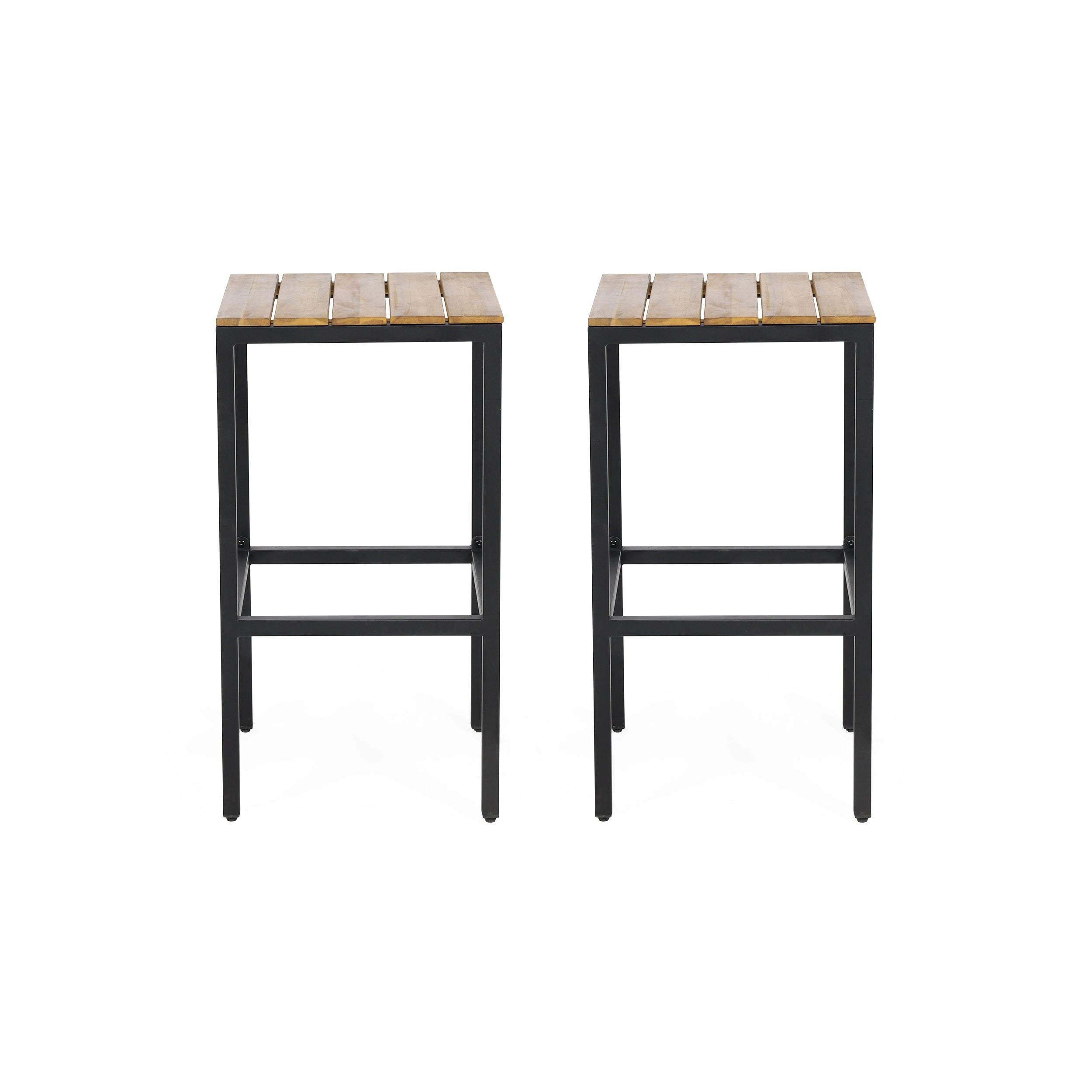 Arath Outdoor Modern Industrial Acacia Wood Bar Stools Set of 2 BlackTeak