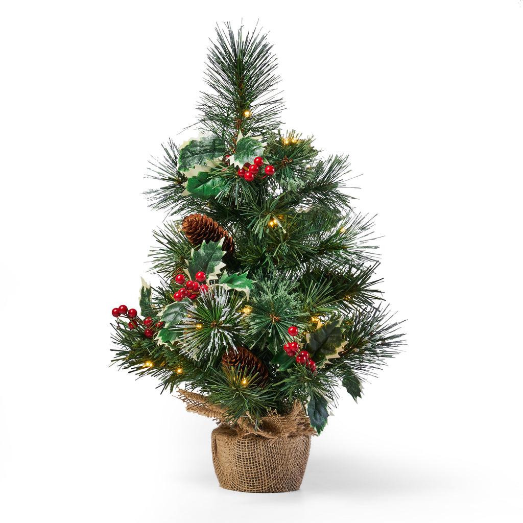 """18"""" Pine Pre Lit Clear LED Pre Decorated Artificial Christmas Tree"""