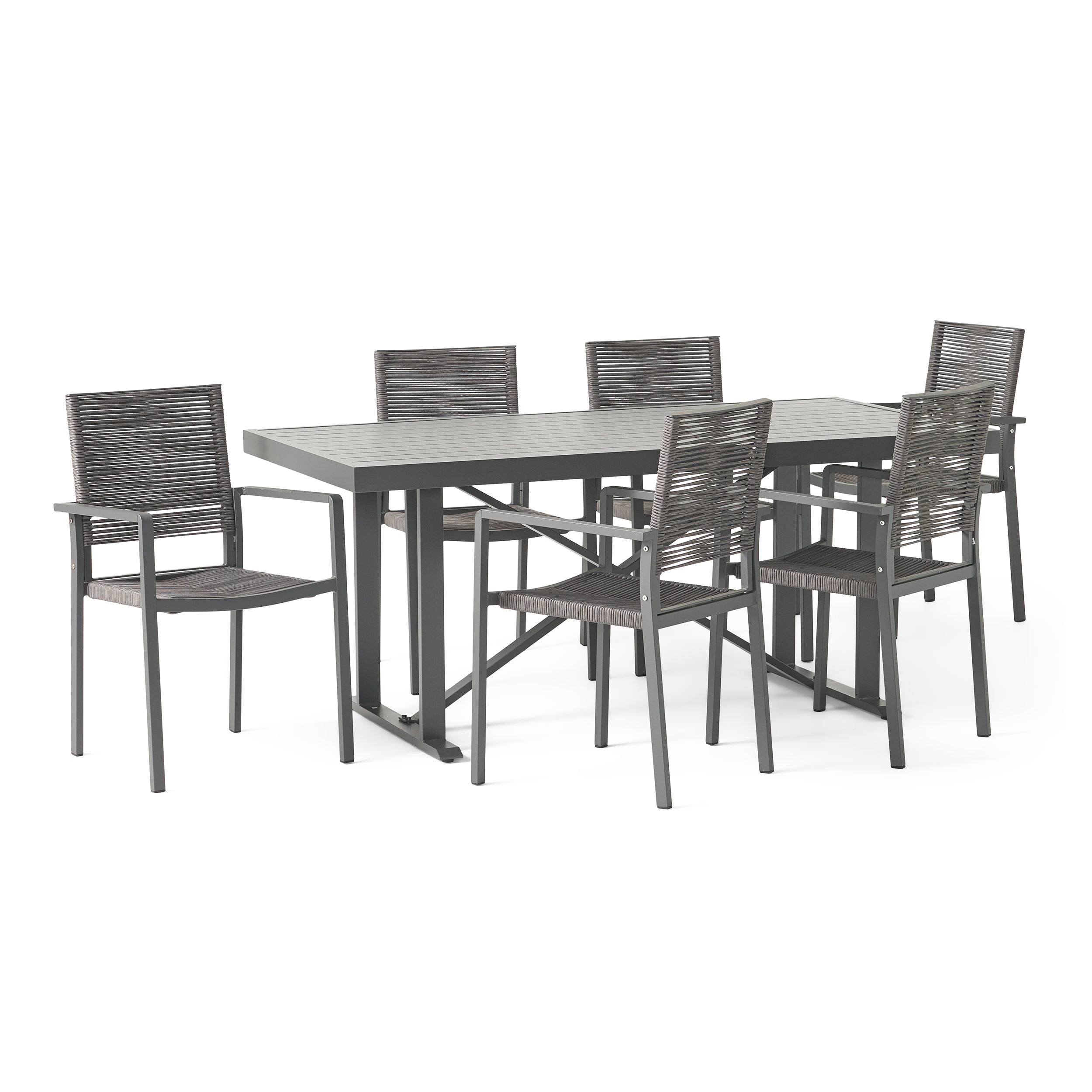 Aponaug Outdoor Modern Industrial Aluminum 7 Piece Dining Set with Rope Seating Default Title