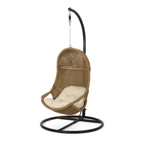 Yukon Outdoor Wicker Hanging Nest Chair with Stand