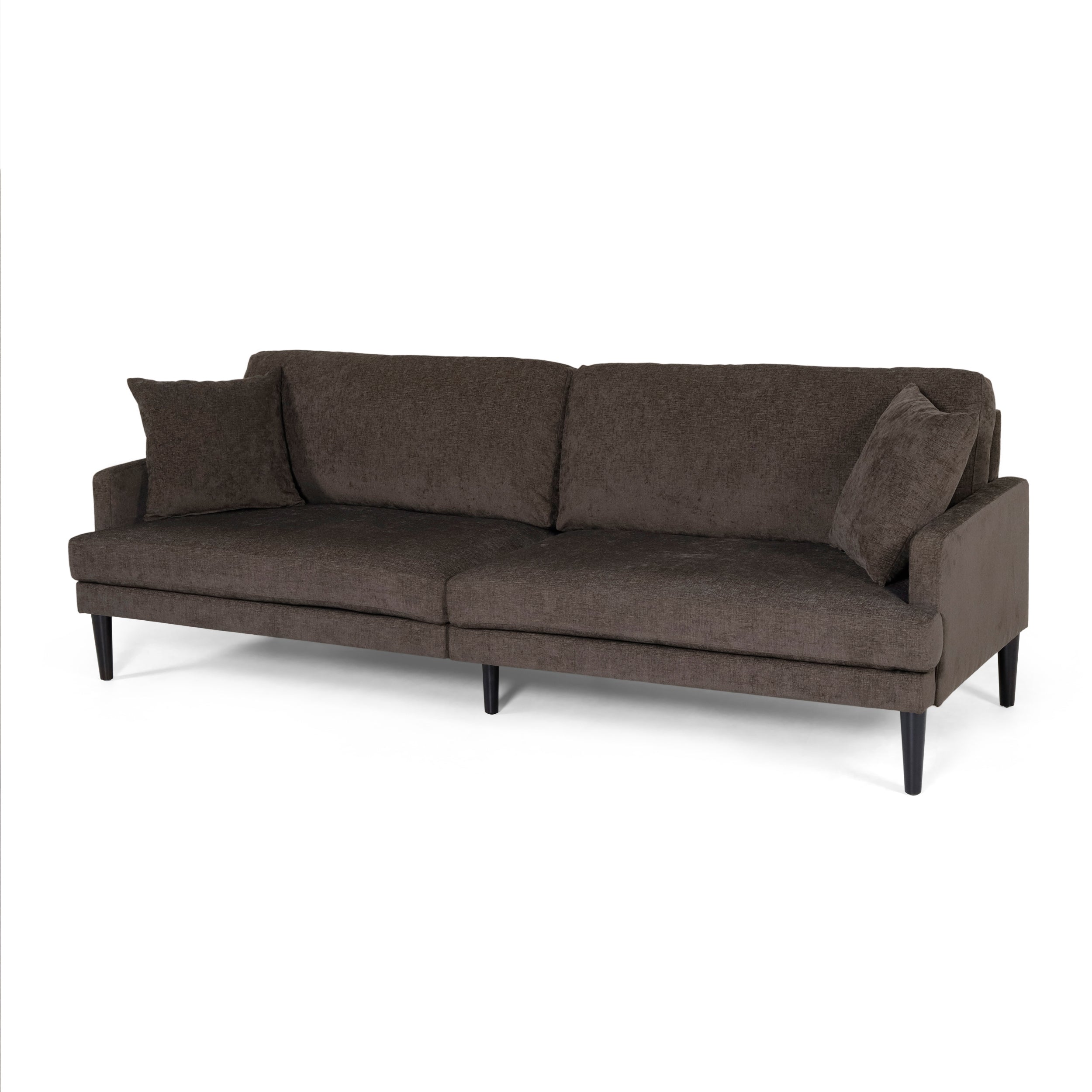 Adut Contemporary 3 Seater Fabric Sofa with Accent Pillows