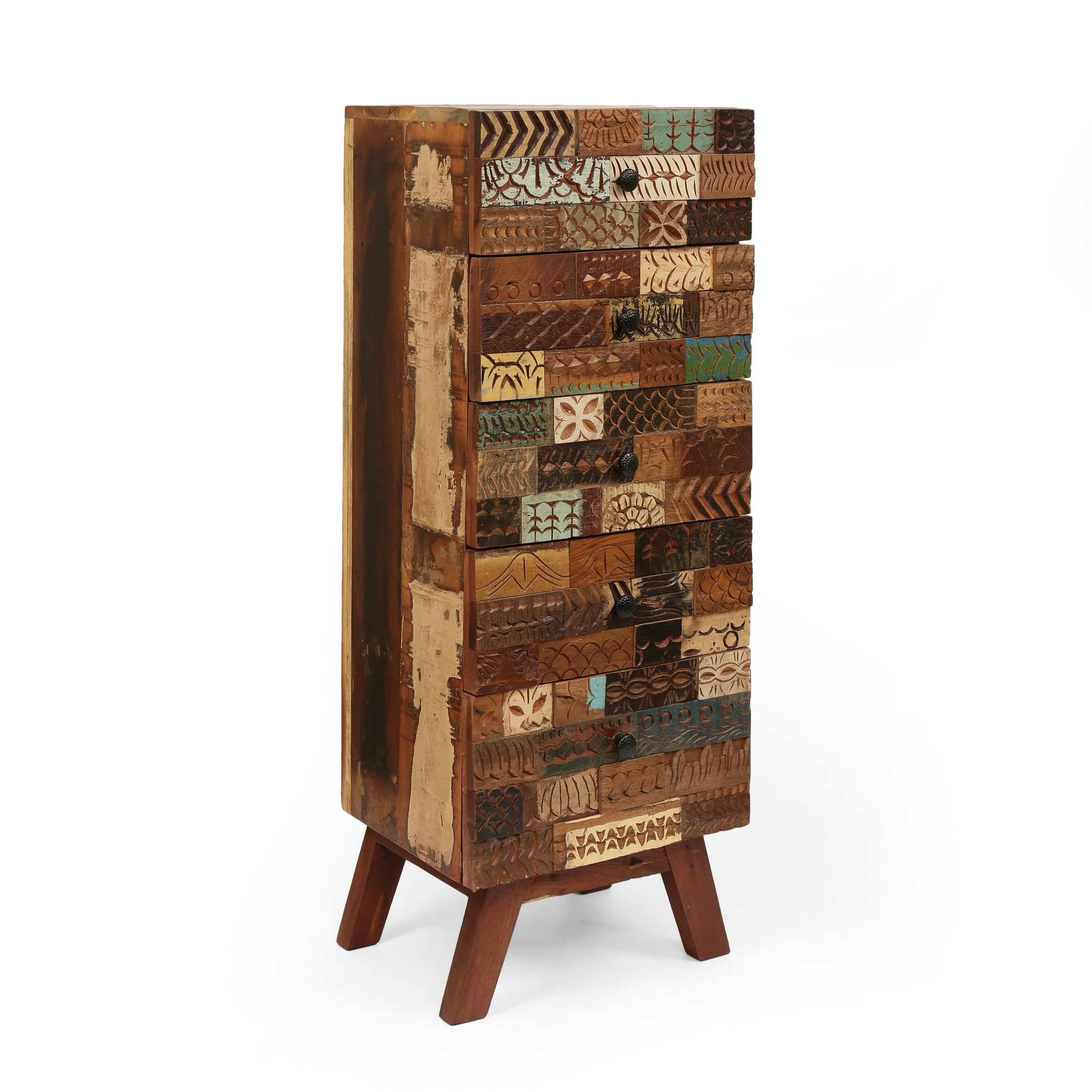 Adcock Handcrafted Boho 4 Drawer Wood Cabinet