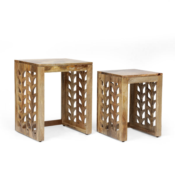 Ferrell Handcrafted Boho Mango Wood Nesting Tables Gdfstudio