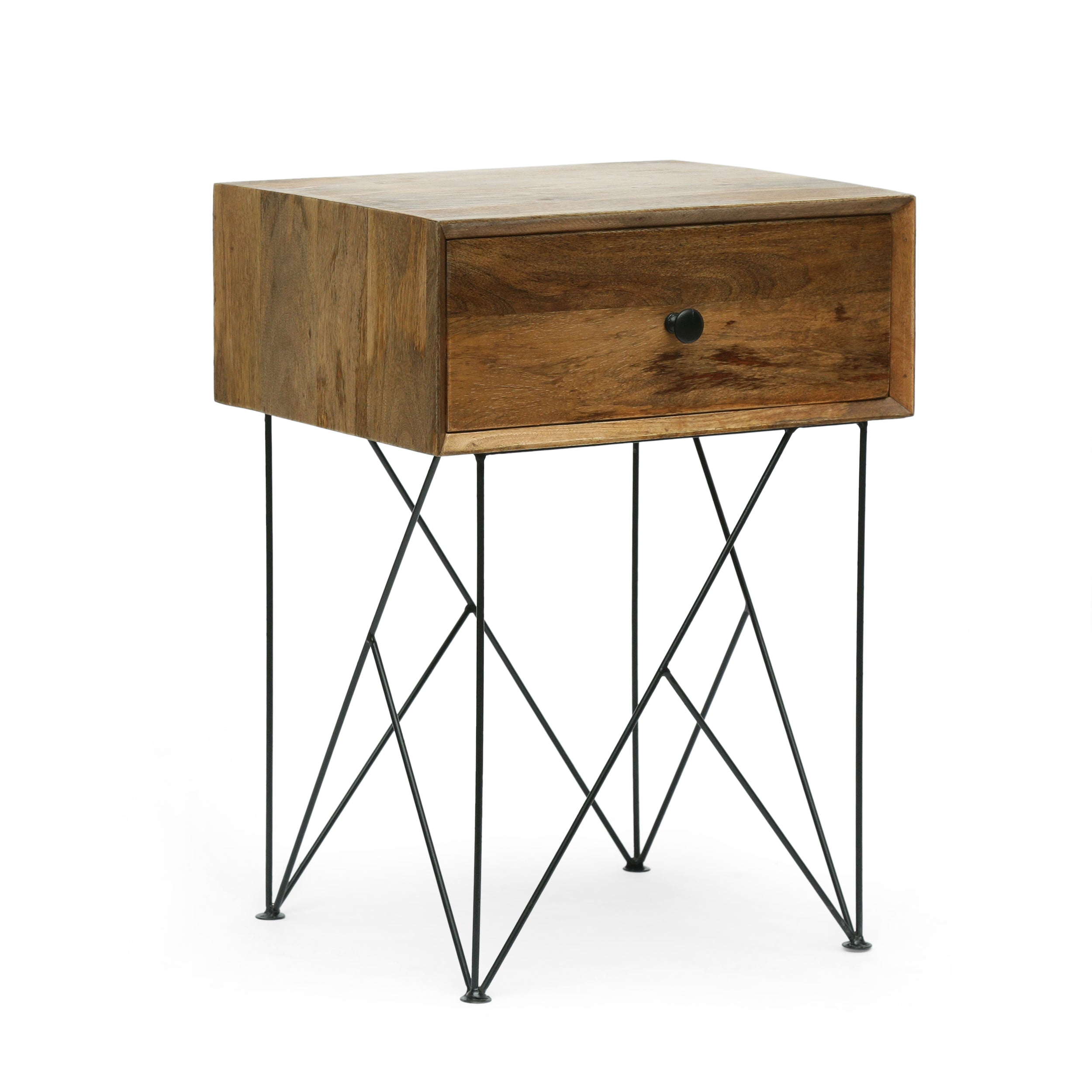 Arcanum Modern Industrial Handcrafted Mango Wood Side Table Natural and Black