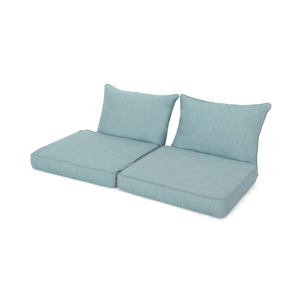 Luciella Outdoor Water Resistant Fabric Loveseat Cushions with Piping