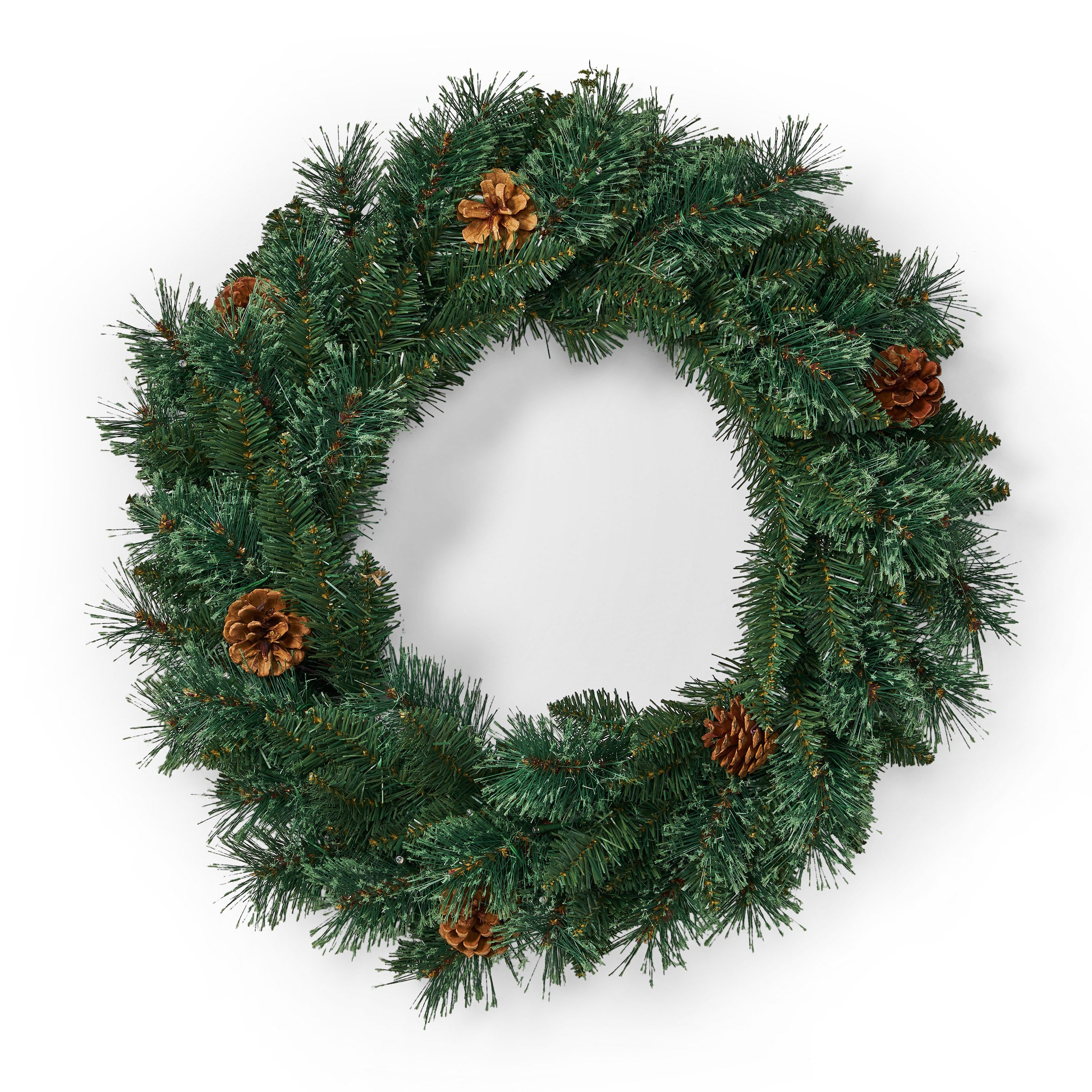 24 Mixed Pine Pre Lit Warm White LED Artificial Christmas Wreath with Pine Cones Green