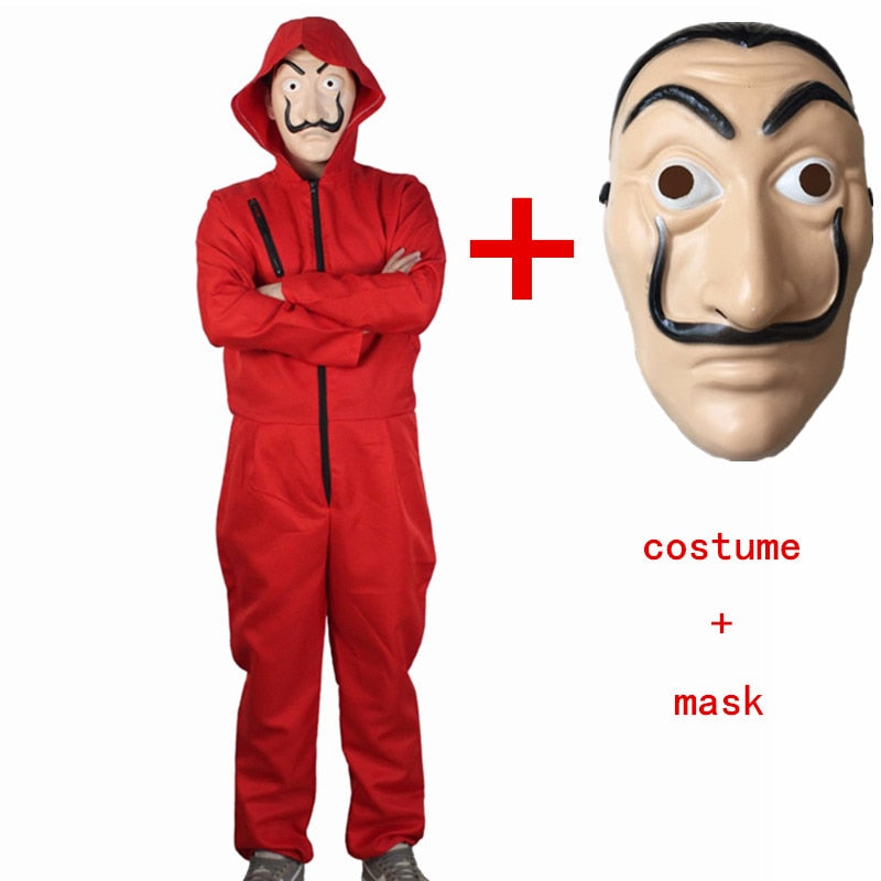 Halloween Mask Money Heist Costume & Face Mask - shopaholicsonlyco