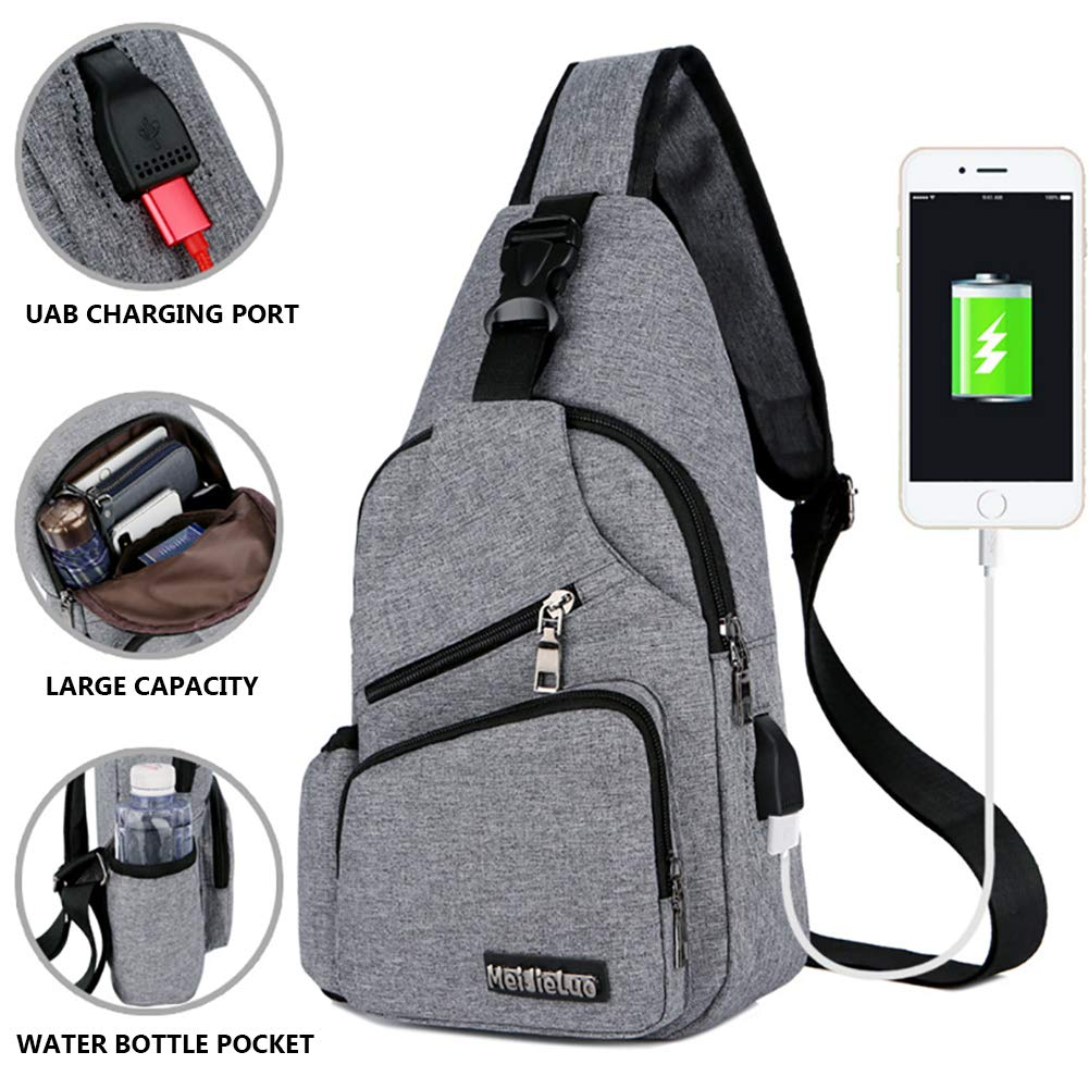Men's Cross Body Bag External USB Charger