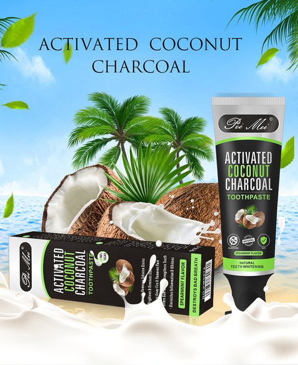 Activated Bamboo Coconut Charcoal Teeth Whitening Toothpaste (Mint Flavor) - shopaholicsonlyco