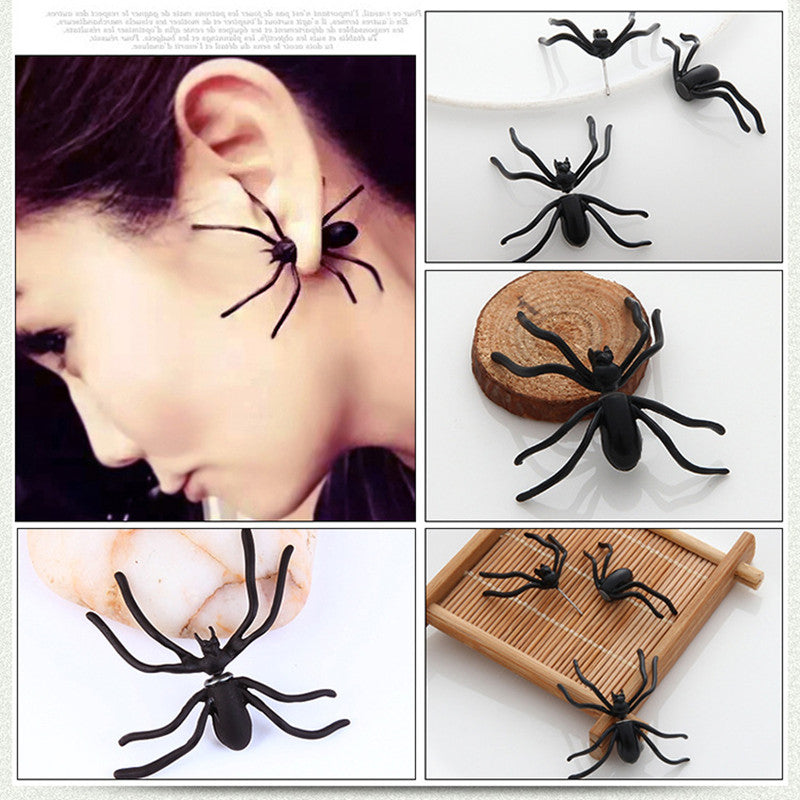 Creepy Punk Black Spider Earrings - shopaholicsonlyco