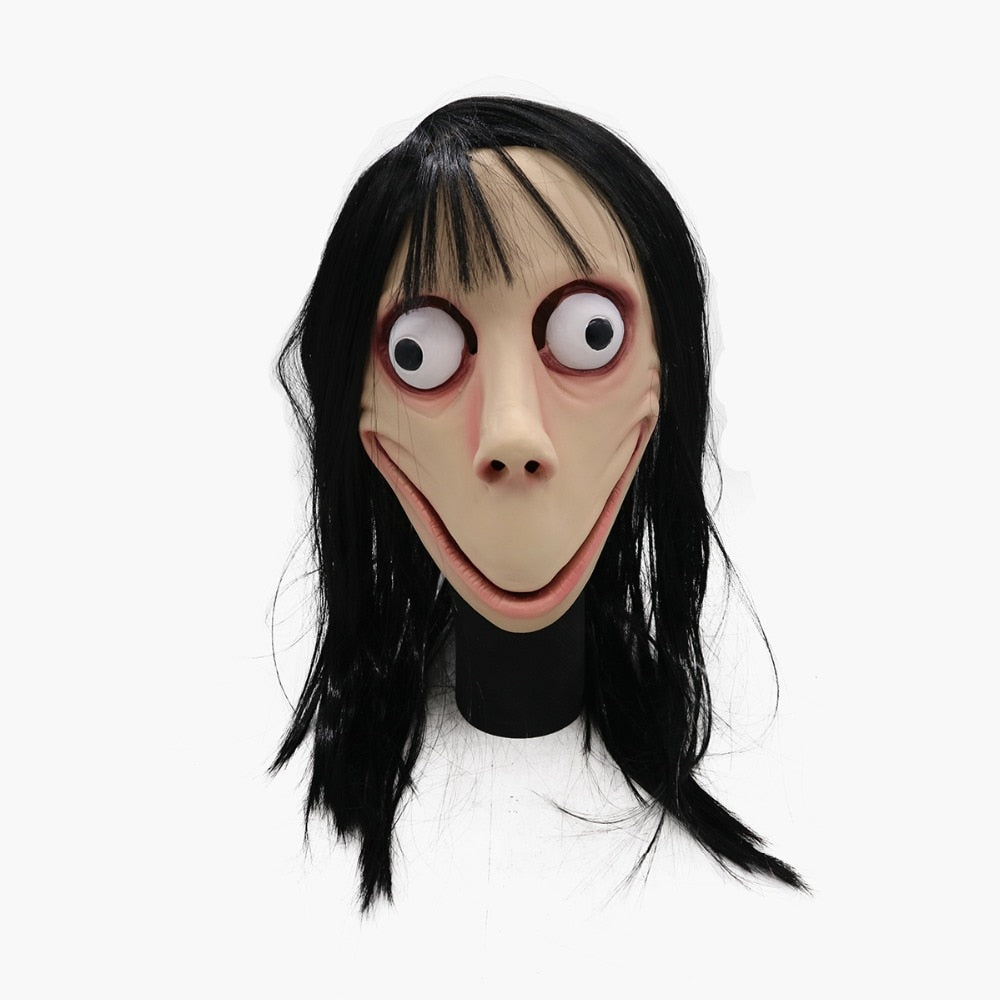 Scary Momo Full Head Mask with Wigs - shopaholicsonlyco