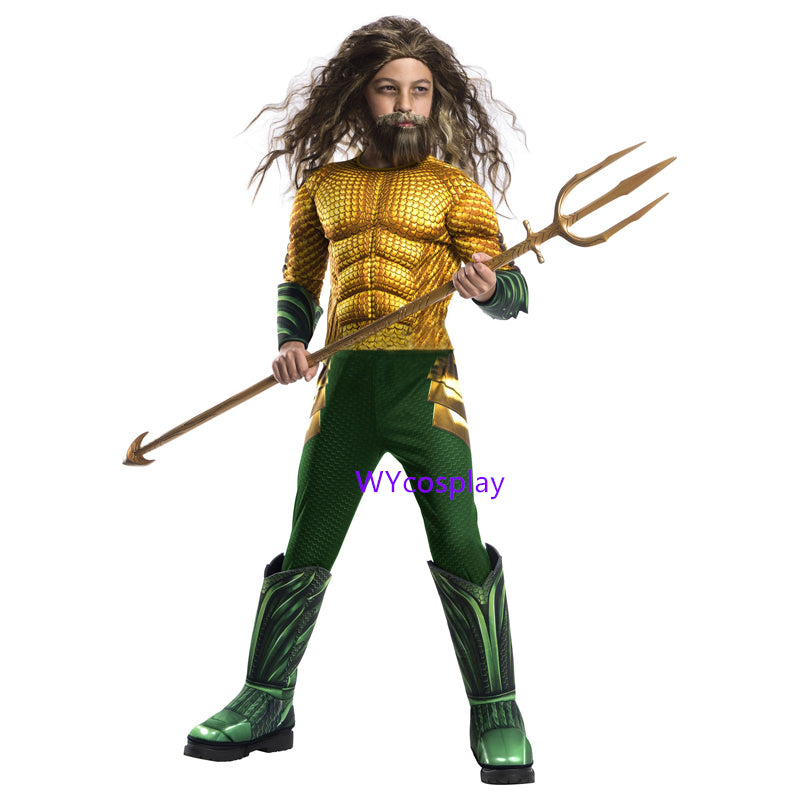Gold Aquaman Muscle Cosplay Costume for Kids