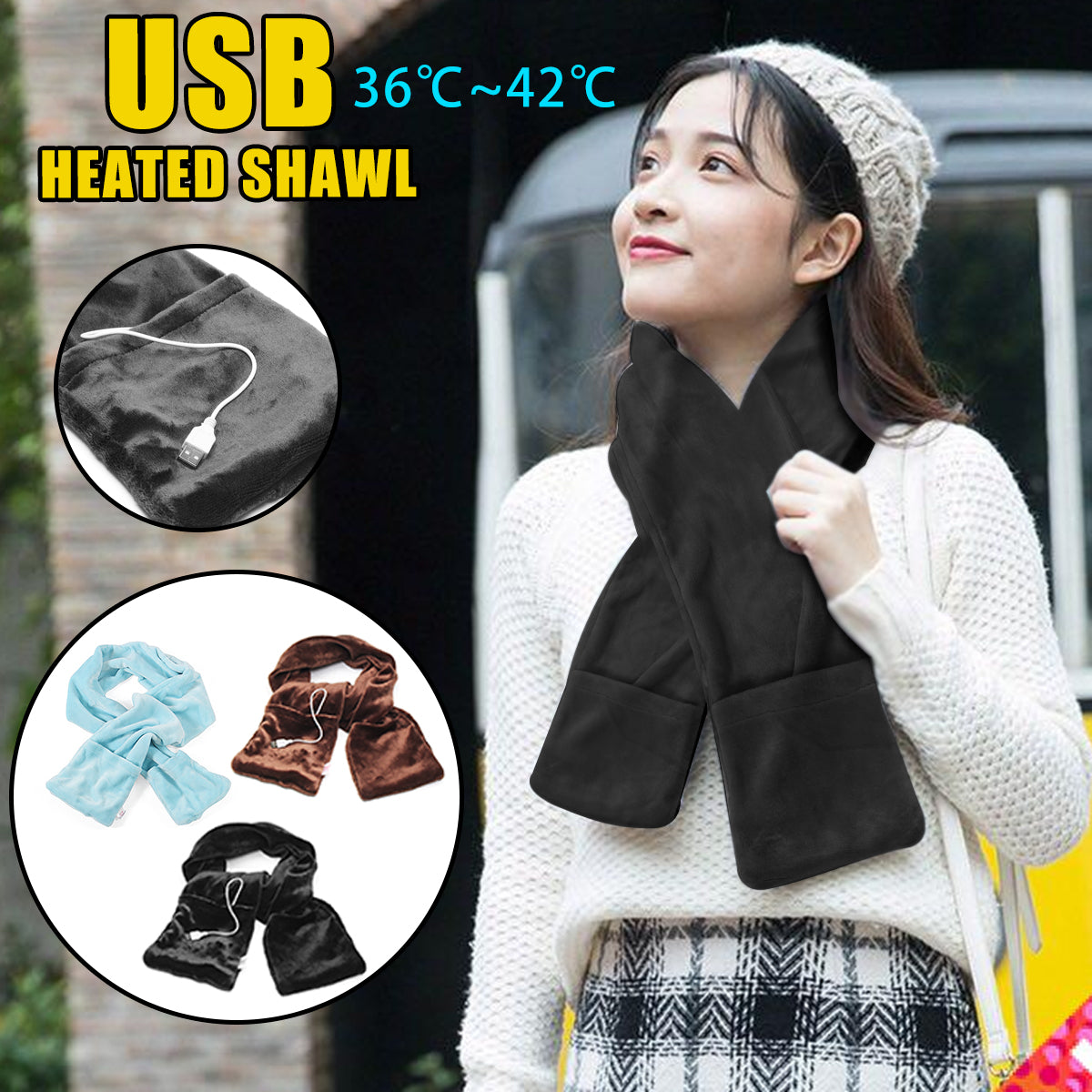Electric Heated Winter Scarf - shopaholicsonlyco