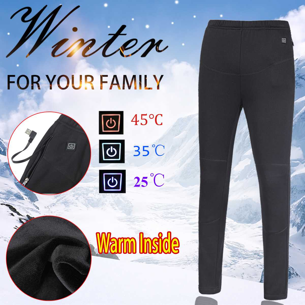 Womens Mens Winter Heated Thermal Trousers - shopaholicsonlyco