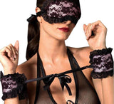 Hot Lace Mask Blindfolded + Handcuffs