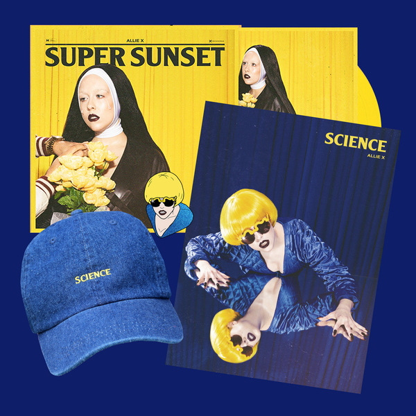 SUPER SUNSET SIGNED VINYL + SCIENCE HAT/PIN/POSTER