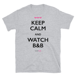 """Keep Calm & Watch B&B"" Short-Sleeve Unisex T-Shirt (White/Grey)"