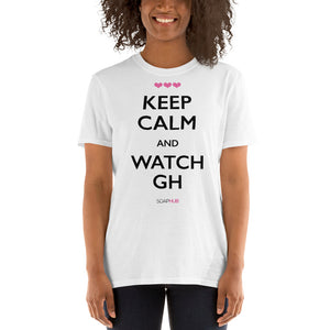 """Keep Calm & Watch GH"" Short-Sleeve Unisex T-Shirt (White/Grey)"