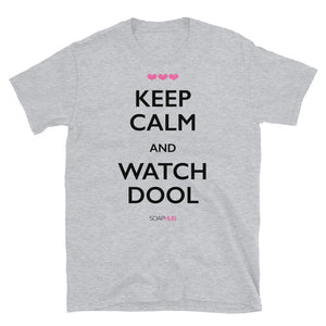 """Keep Calm & Watch DOOL"" Short-Sleeve Unisex T-Shirt (White/Grey)"