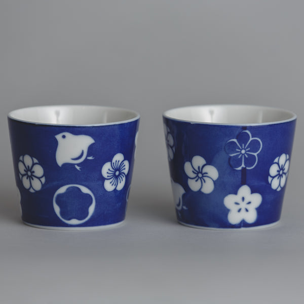 Blue Flower Sake Cup Set