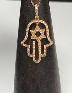 Diamond Chamsa and Jewish Star Pendant