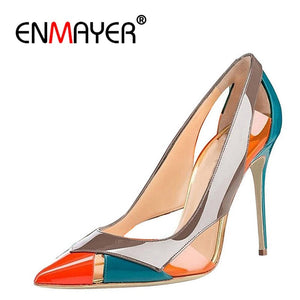 037cdc3fc5 ENMAYER 2018 Women Summer Mixed Colors High Heels Pumps Shoes Woman Pointed  Toe Stiletto Heels Cut-outs Party Ladies Shoes CR702
