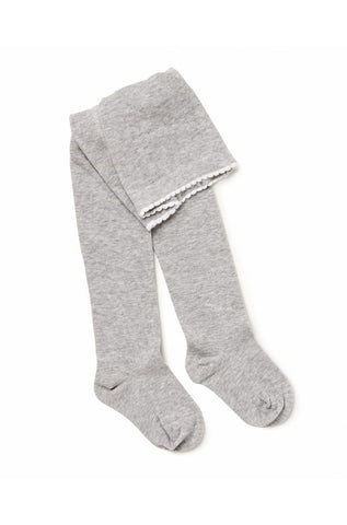 Knitted Cotton Tights - Grey