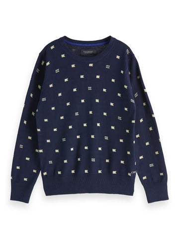 Allover Printed Navy Pullover