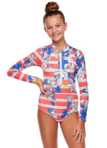 Girls Emma Long Sleeve One Piece - Copacabana