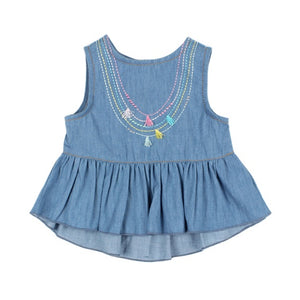 Birdie Chambray Top W Necklace