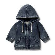 Twilight Blue Denim Look Zip Thru Jacket