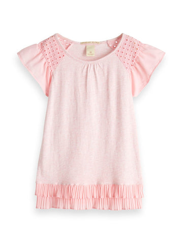 Jersey Woven Mixed Tee with Pleated Hem Pink