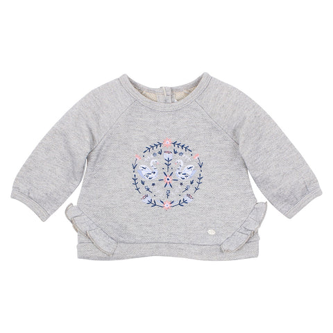 Viola Frill Embroidered Sweatshirt Baby