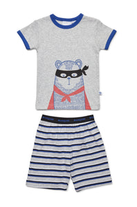 Super Bear PJ - Grey Marle/Stripes