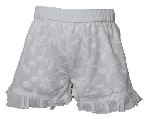 Frilled Shorts Embroidered Off White
