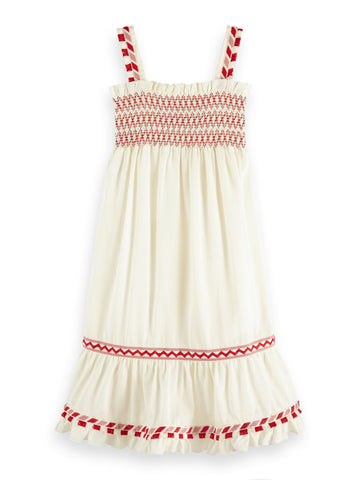 Boho Dress with Smocked Upper Body and Tape Details