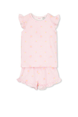 Gingham PJS - Pink/White