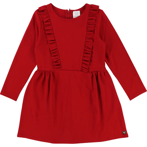 Red L/S dress with Frill