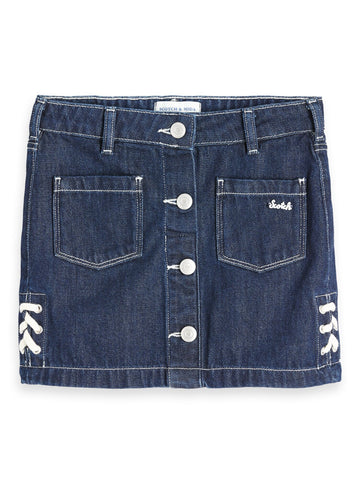 Denim Skirt Post Blauw