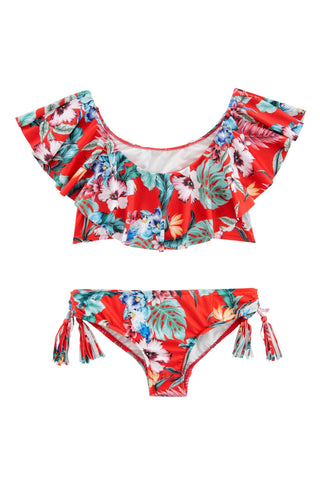 Ruffle tankini Hawaii Red