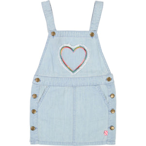 Heart Denim Overall Dress