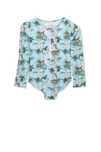 Tropical L/S Swimsuit - Crystal Blue