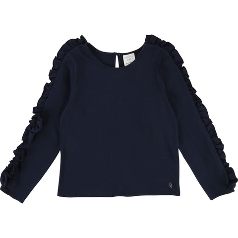 Navy L/S T-Shirt With Frills