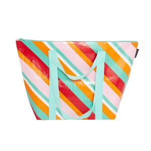Medium Zip Up Tote (The Traveller) - Candy Stripes